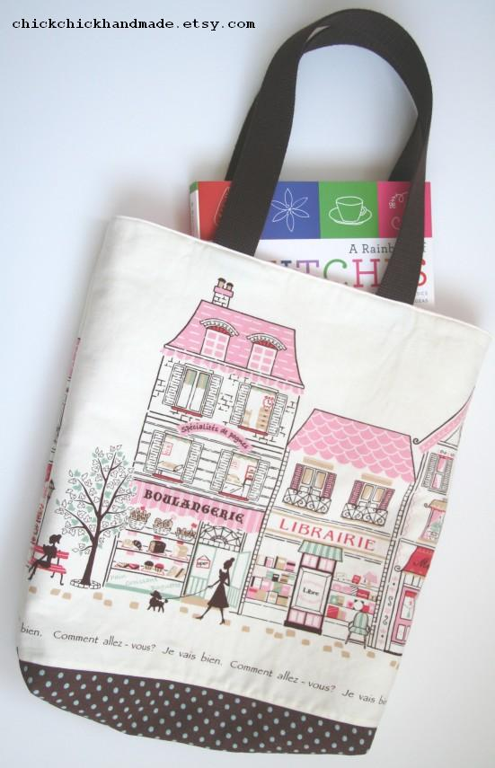 chick chick sewing paris street everyday tote bag. Black Bedroom Furniture Sets. Home Design Ideas