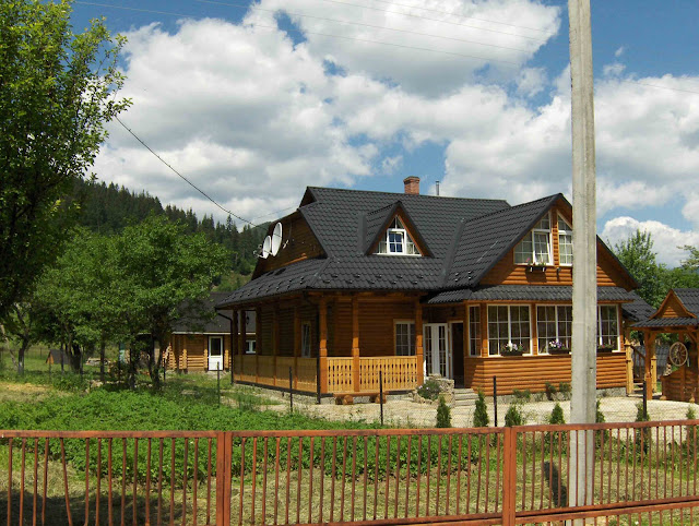 Western Ukraine: Typical Bed and Breakfast wooden Hutsul house