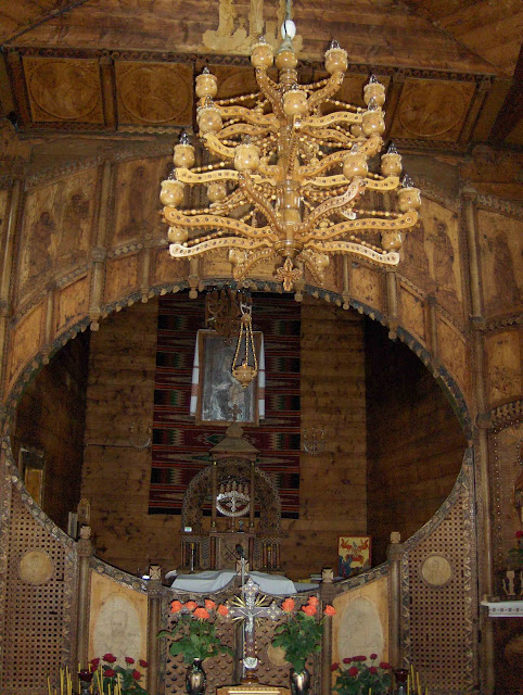 West Ukraine: Interior of wooden Church in Carpathy