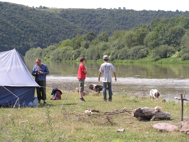 Camp on the bank of Dnister River (Ternopil state, Western Ukraine)