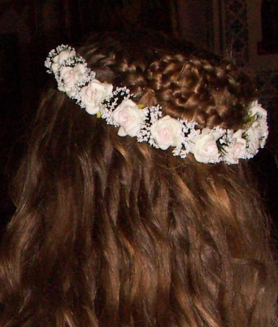 Вінок нареченої біло рожеві троянди Україна