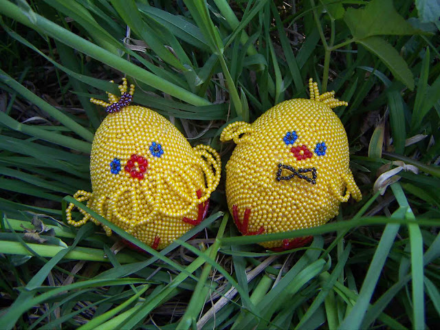 Baby Chickens Beaded Easter Eggs Made in Ternopil Ukraine