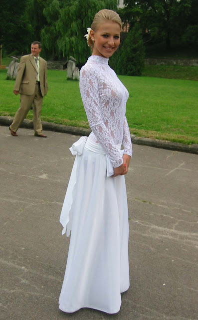 High School Graduation Ternopil Ukraine Beautiful Girl In White Dress