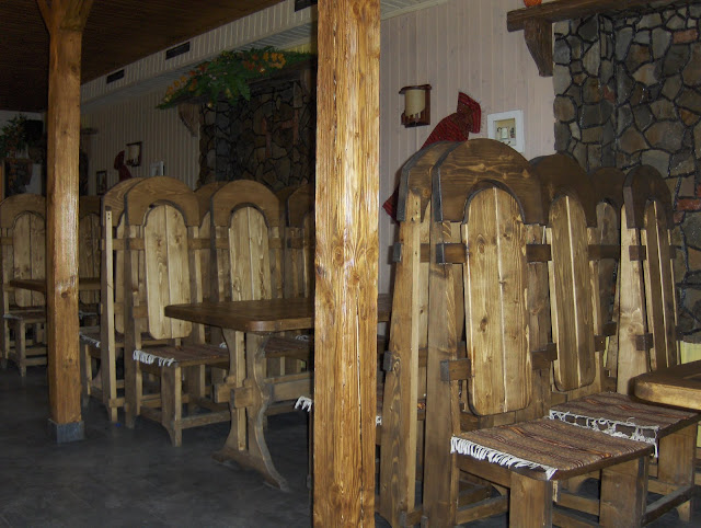 Wooden Interior Of Restaurant Ukrainian Carpathians