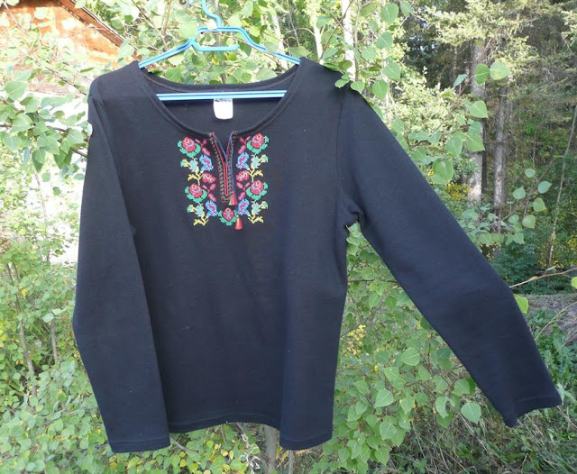Black Tee With Ukrainian Embroidery Bought In Western Ukraine
