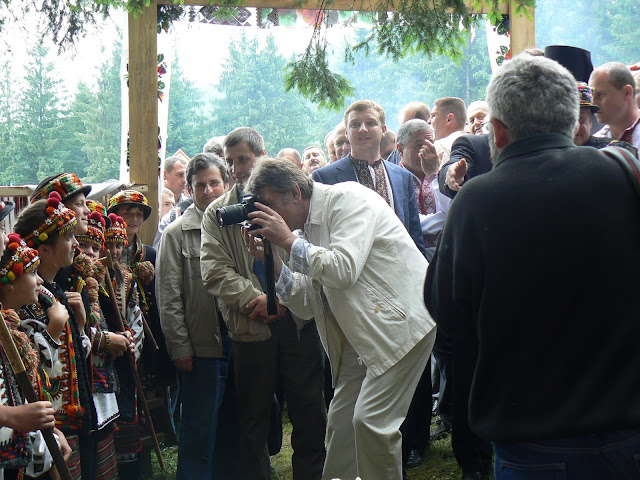 President Of Ukraine Victor Yushchenko Is Taking Picture At Hutsul Festival In Carpathians