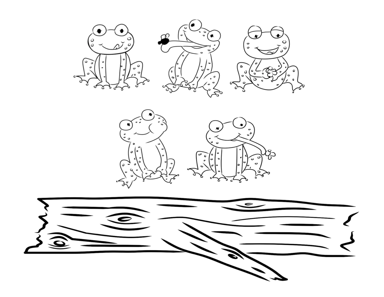 free coloring pages of 5 speckled frogs