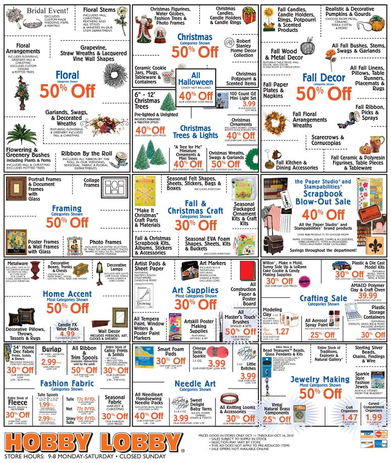 Entire ad weekly in store specials hobby lobby hobby lobby