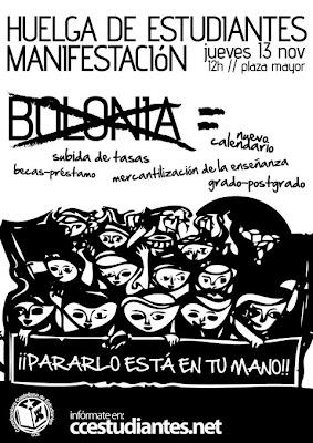 huelga manifestación no a Bolonia Valladolid Coordinadora Castellana de estudiantes