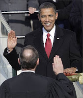 Obama taking the oath of office
