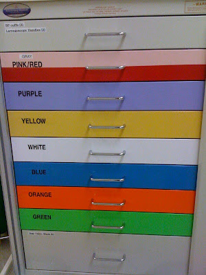 Cart with color drawers