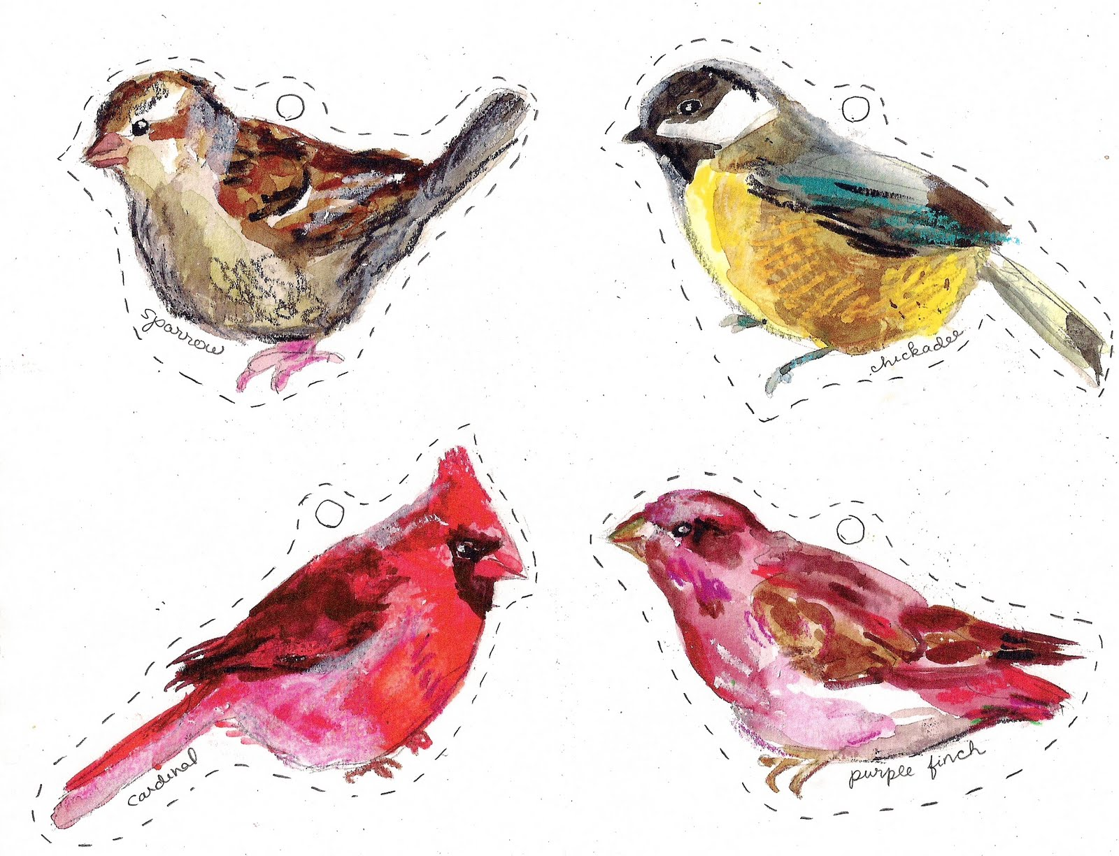These Are My Holiday Cards For 2010 Various Winter Birds You Can Print Them Out Cut And String With Ribbon Little Paper Ornaments