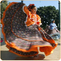 Photo of a woman in a long Mexican skirt dancing