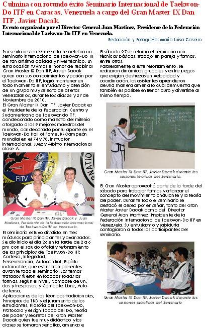 Nota de Prensa Seminario Internacional De TaeKwon-Do ITF 2010