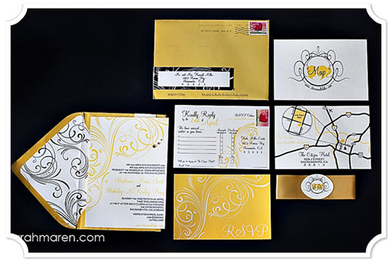 Curry Yellow, Black, and White Vintage Flourish Invitation Suite with RSVP Postcard, Wrap-around label, Rhinestones and Custom Envelope Liner