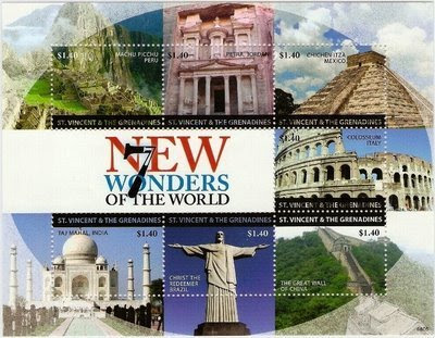 7 wonders of the world images 2010. New M/s by St. Vincent & The Grenadines on which New Seven Wonders of the