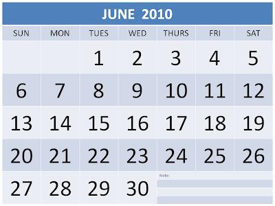 blank calendar 2010. july 2010 calendar. Blank June