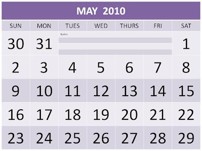 2010 monthly calendar printable. Free May 2010 Calendar