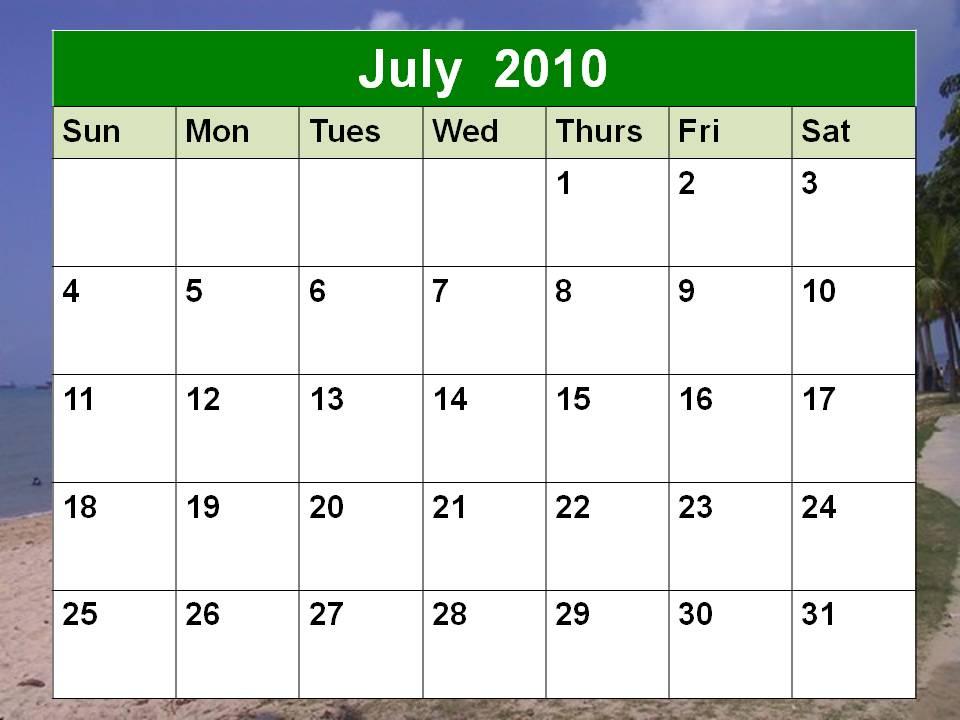 blank january 2010 calendar. Blank July 2010 Calendar