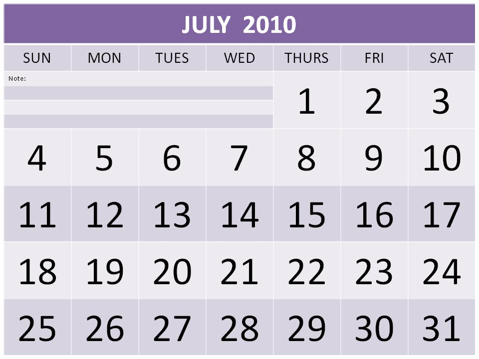 July Calendar With Holidays