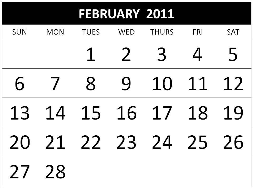 printable february calendar 2011. Calendar 2011 February On