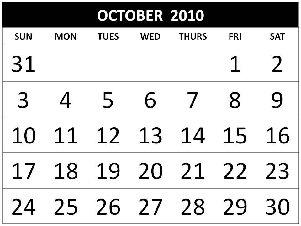 october 2010 calendar printable. Free DIY Calendar 2010 October