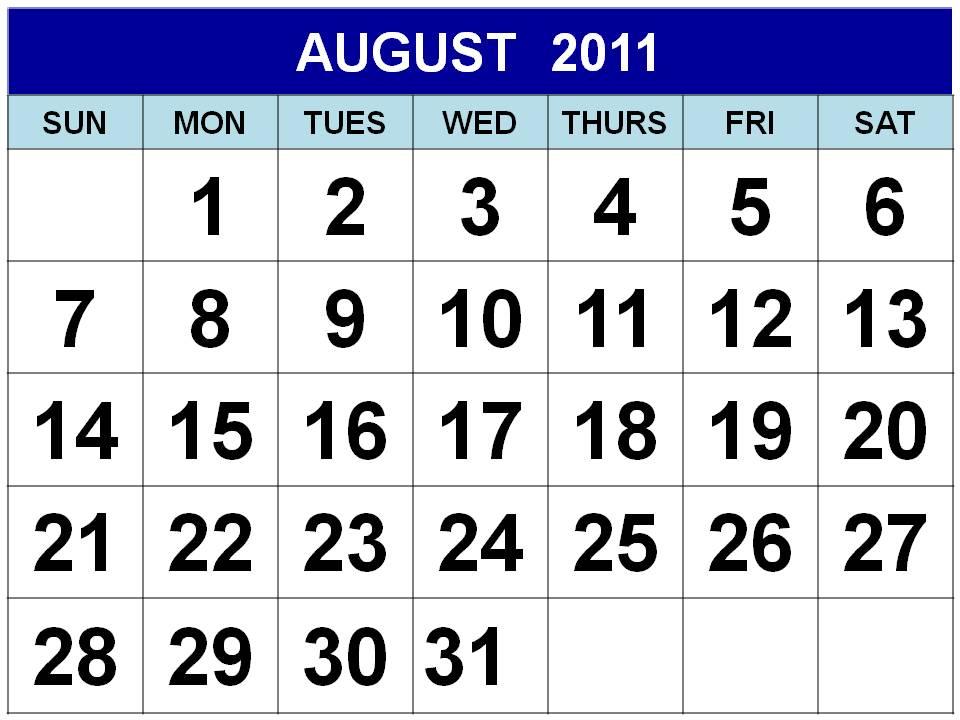printable august 2011 calendar. august calendar 2011 printable