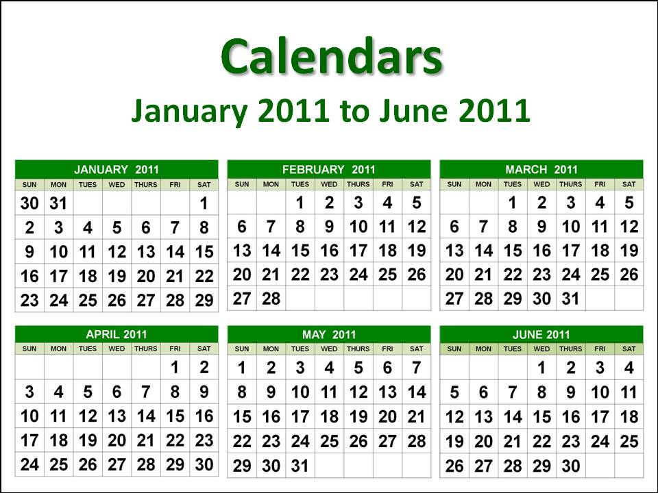 To download and print this January 2011 to June 2011 Printable Calendar A4