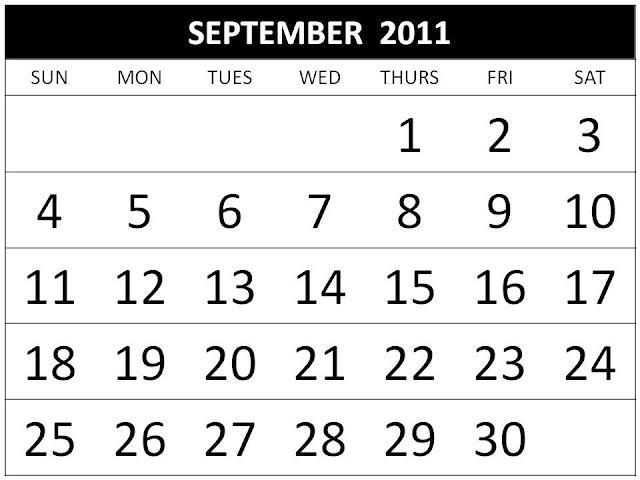 2011 calendar template. september 2011 calendar