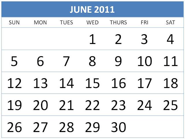 june calendar for 2011. Calendar June 2011