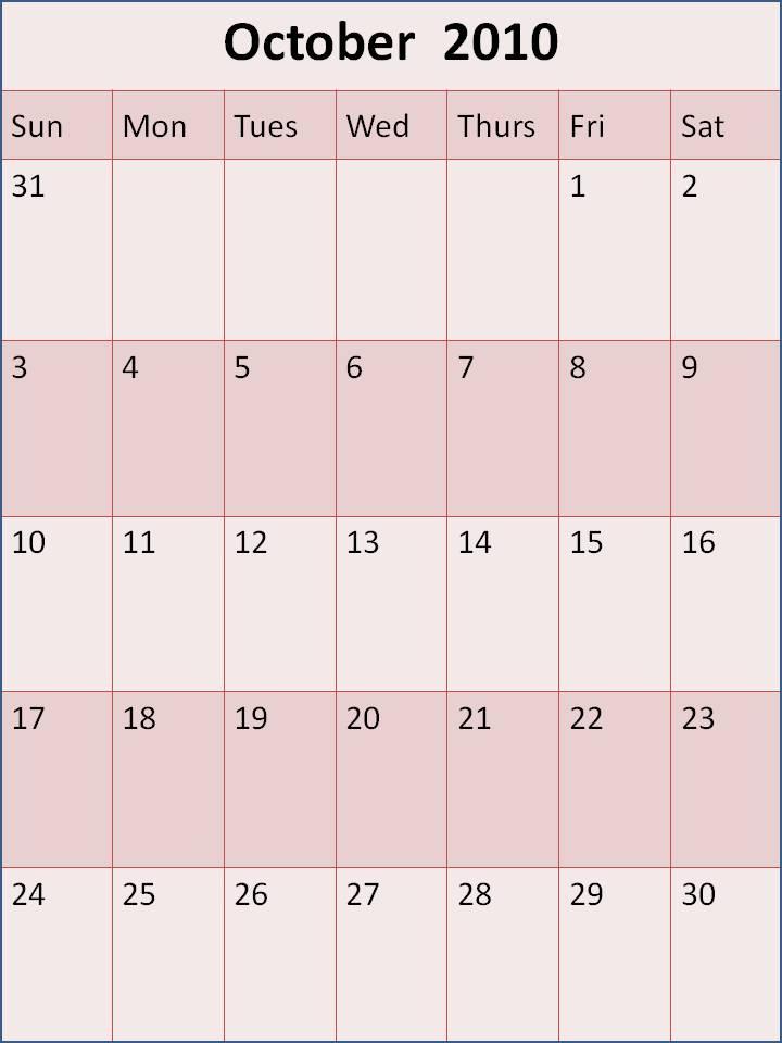 calendar october 2010. Blank October 2010 Calendar
