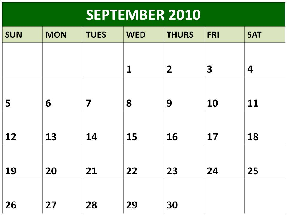 september 2010 calendar. Calendar - easily create