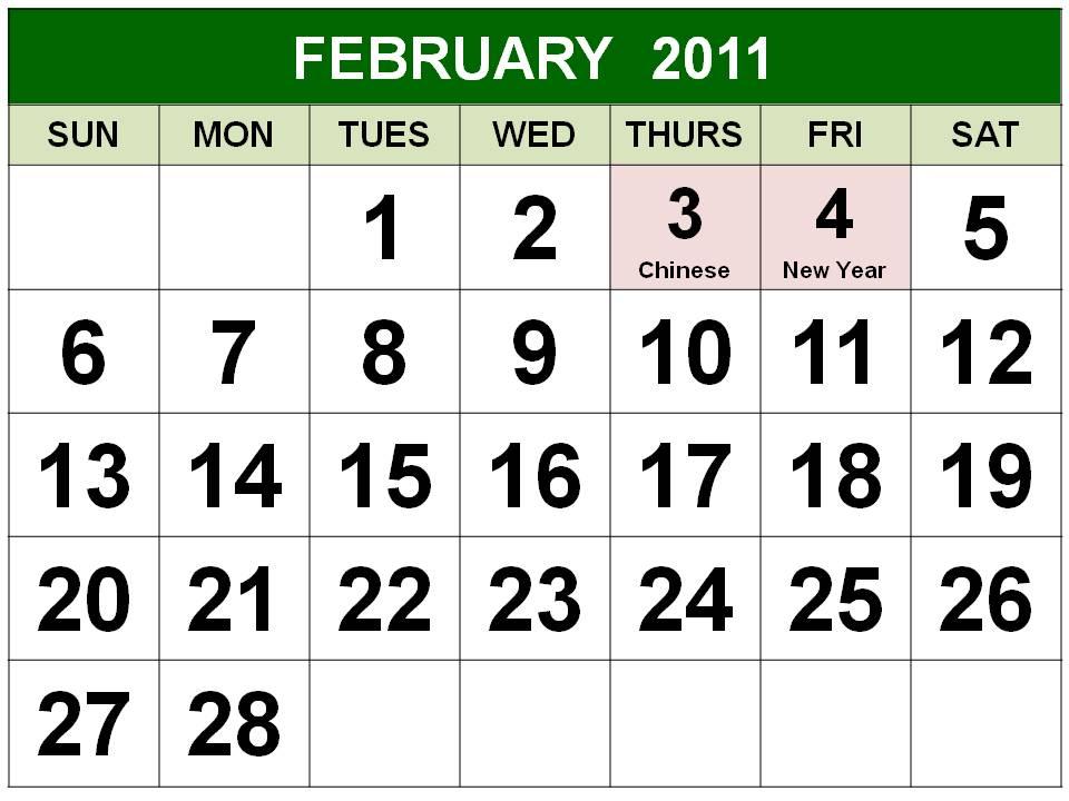 Singapore February 2011 Calendar with Holidays (PH) Printable 2011 Calendar