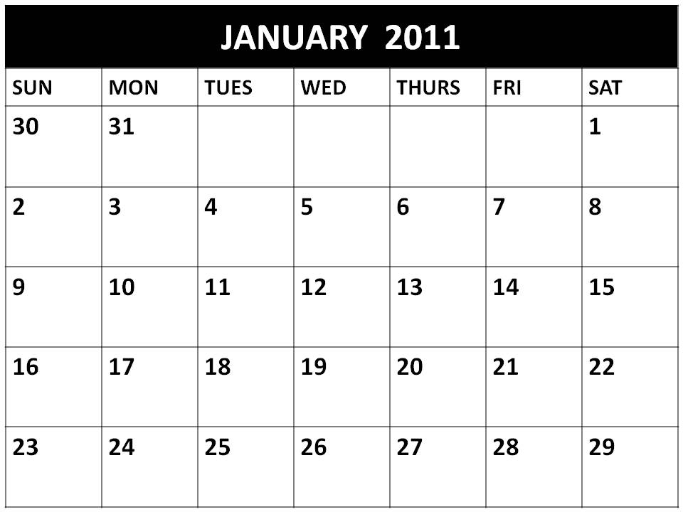 Free printable Planner 2011 January or Blank Calendars 2011