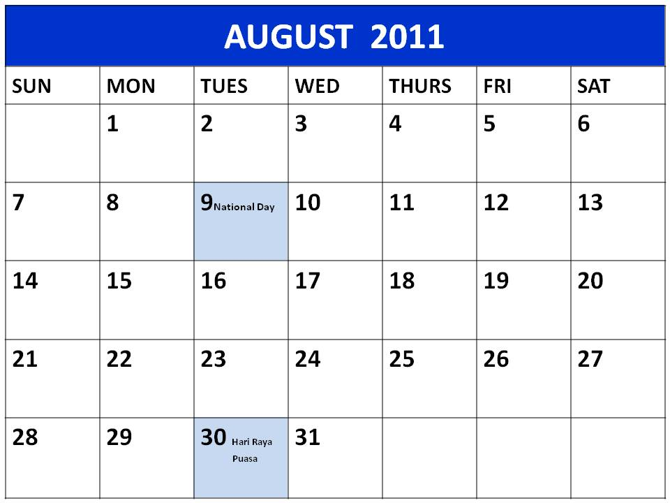 ... print this Free Monthly Singapore Planner 2011 August with Holidays