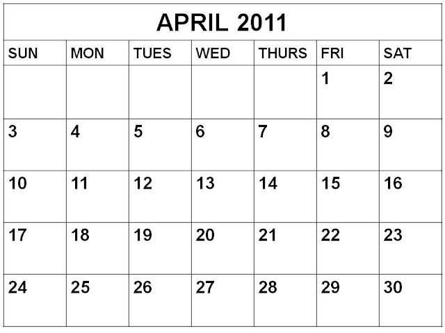 blank calendar april 2011. Blank Calendar April 2011