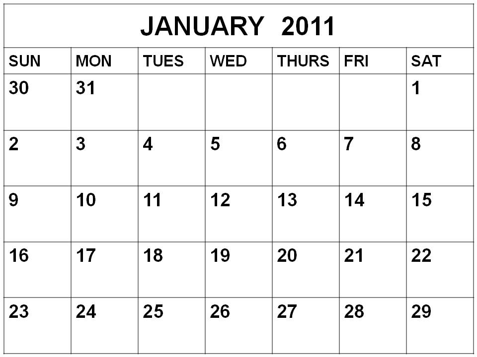 Download 2011 calendar. Month Blank January 2011 Calendar downloadable free