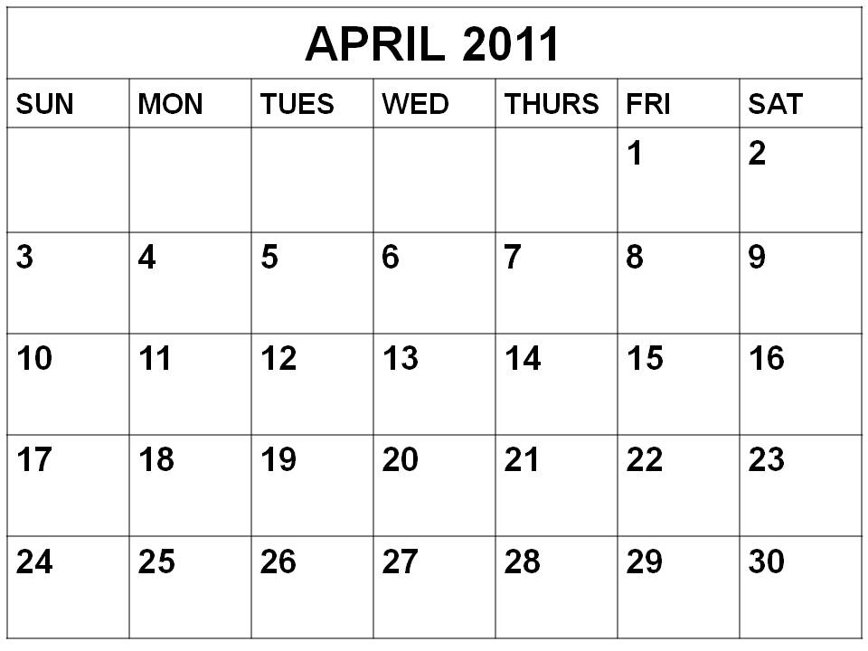 Calendar April 2011 : Latest entertainment news calendar printable free