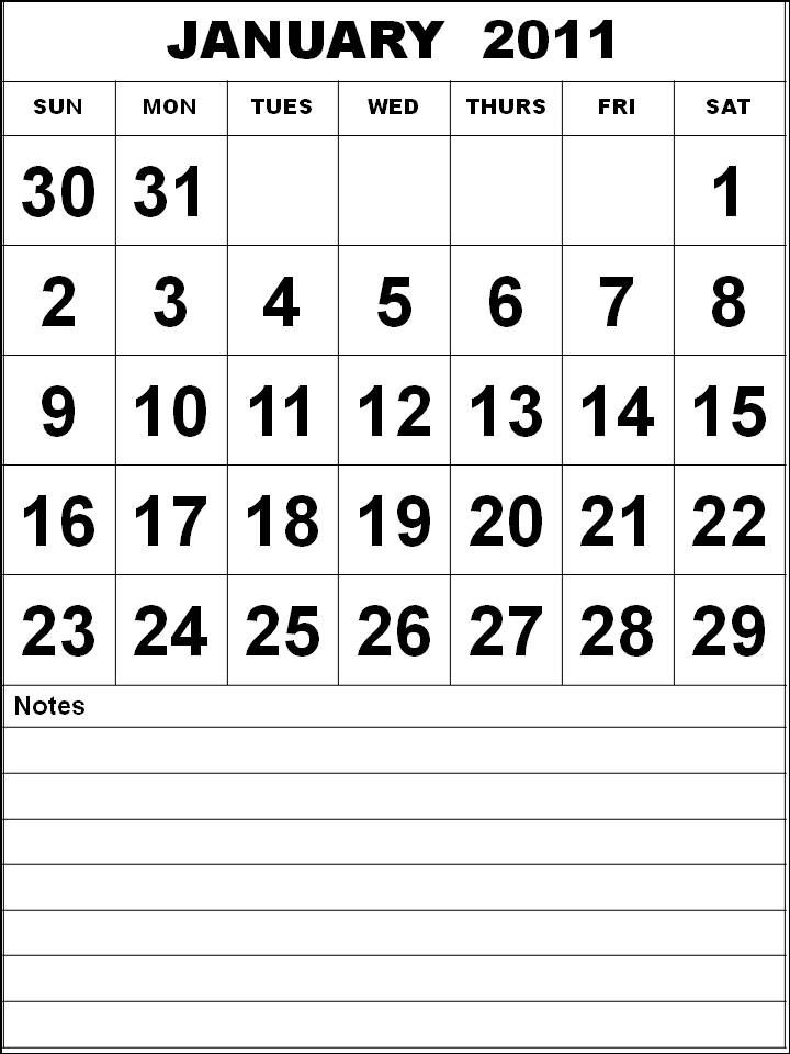 monthly calendar 2011 template. template (Jan 2011) To