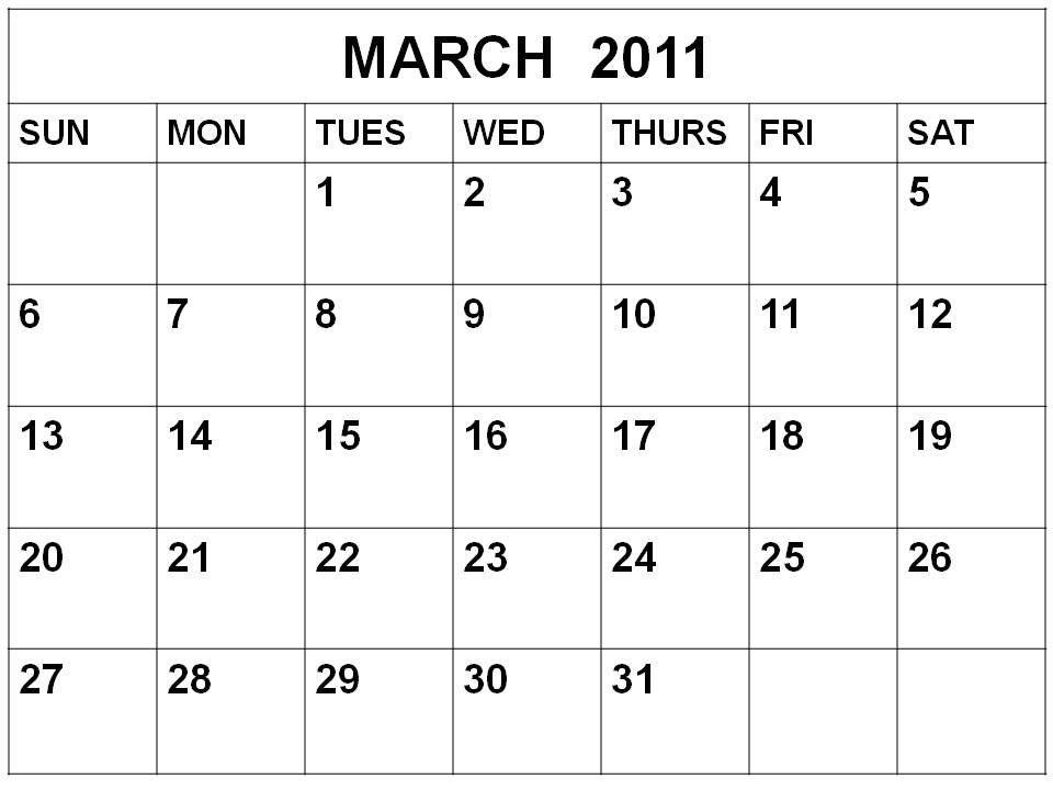 2011 calendar february and march. Blank March 2011 Calendar