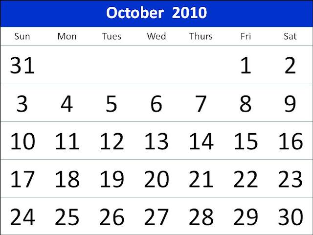 2010 october calendar. Featuring october calendar