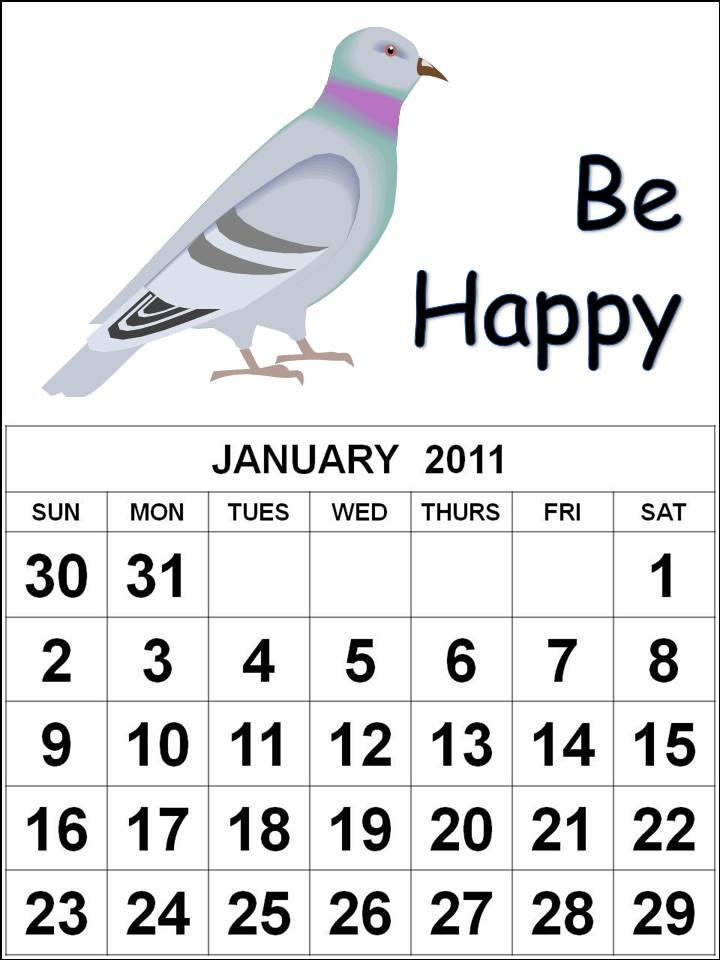 january calendar 2011 template. bird January 2011 Calendar