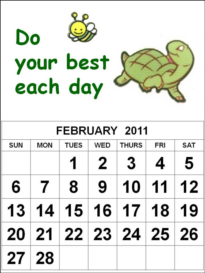 Cute February 2014 Calendar Printable Cute Cartoon Kids or Children 2011 February Calendar Printable