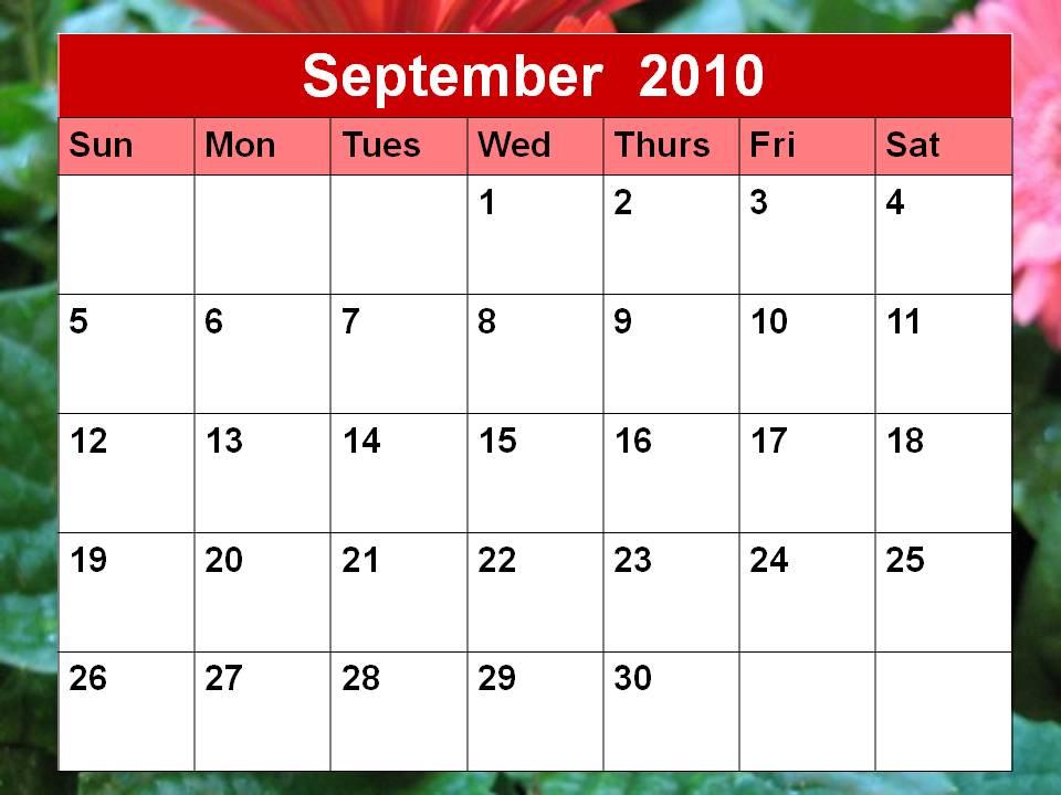 september 2010 calendar. September 2010 Calendar