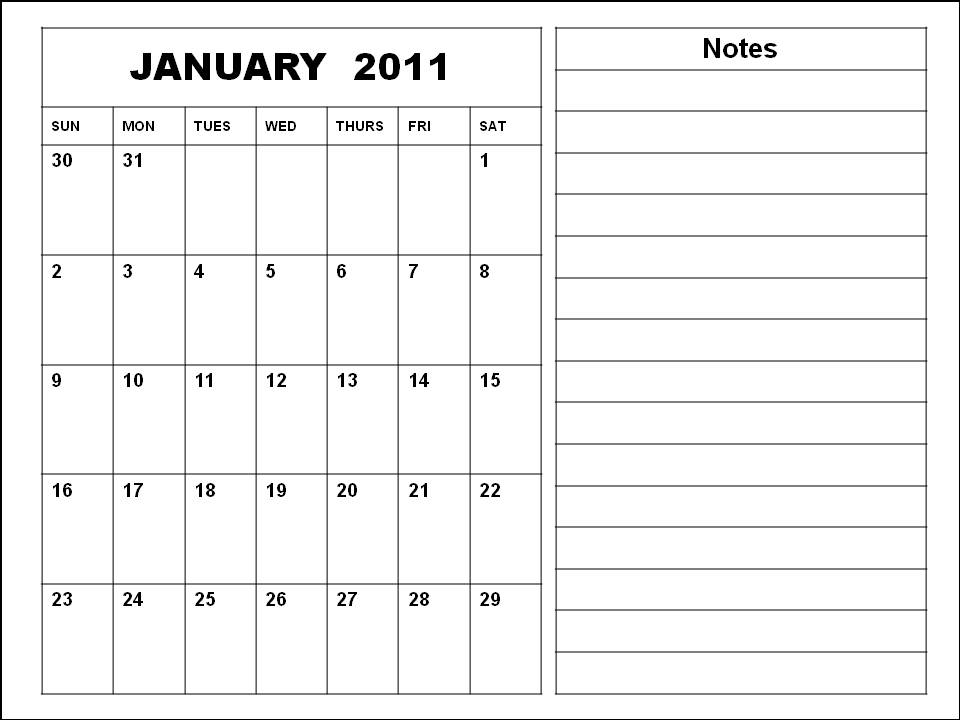 Homemade Blank Calendar 2011 January Printable Template