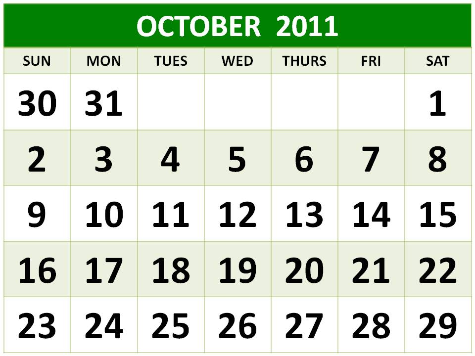 B10 october 2011 calendar printable template