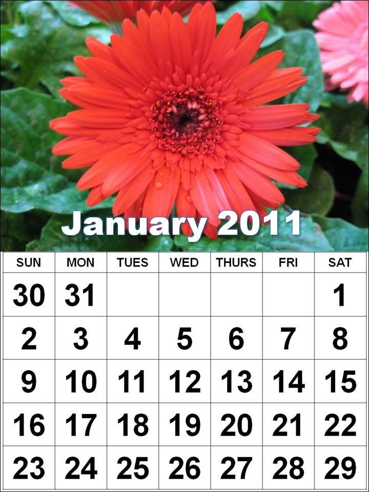2011 Calendar January February March
