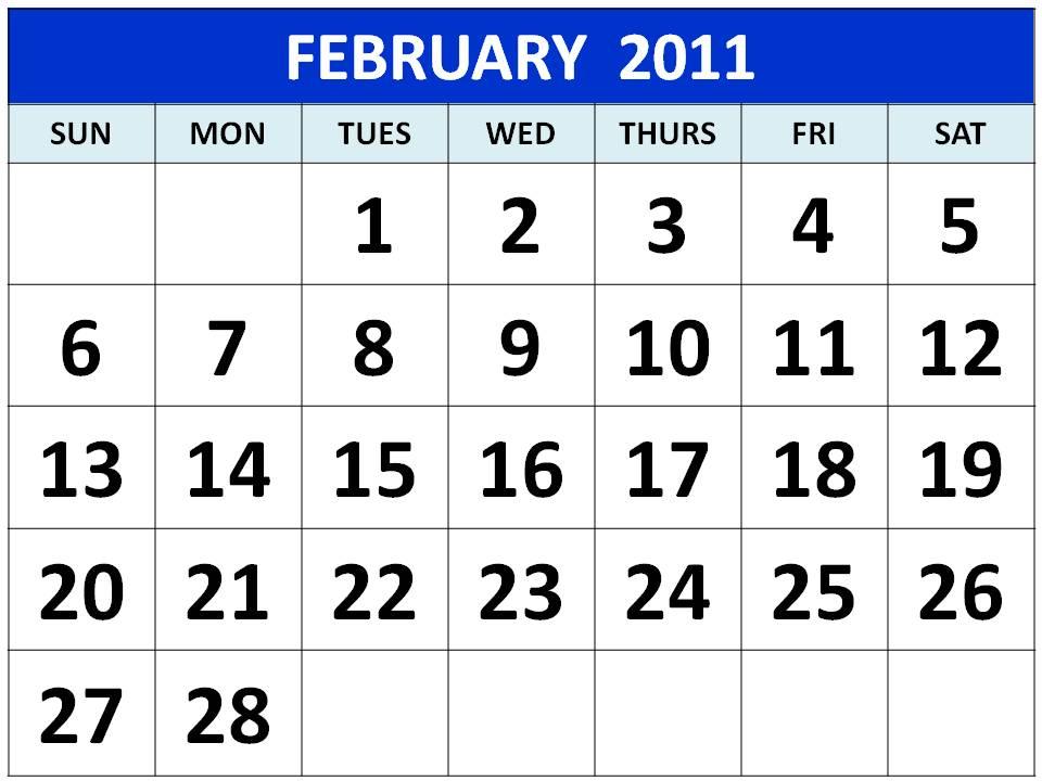 Blank February 2011 Calendar Printable Template