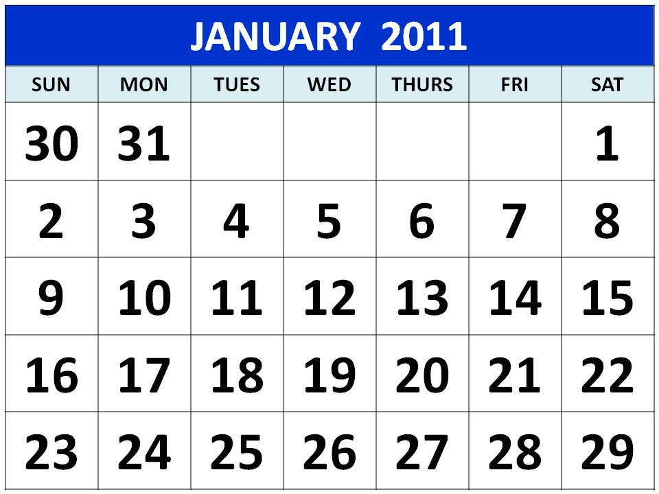 Other Free Printable Calendar 2011 Blue colour / color Designs: