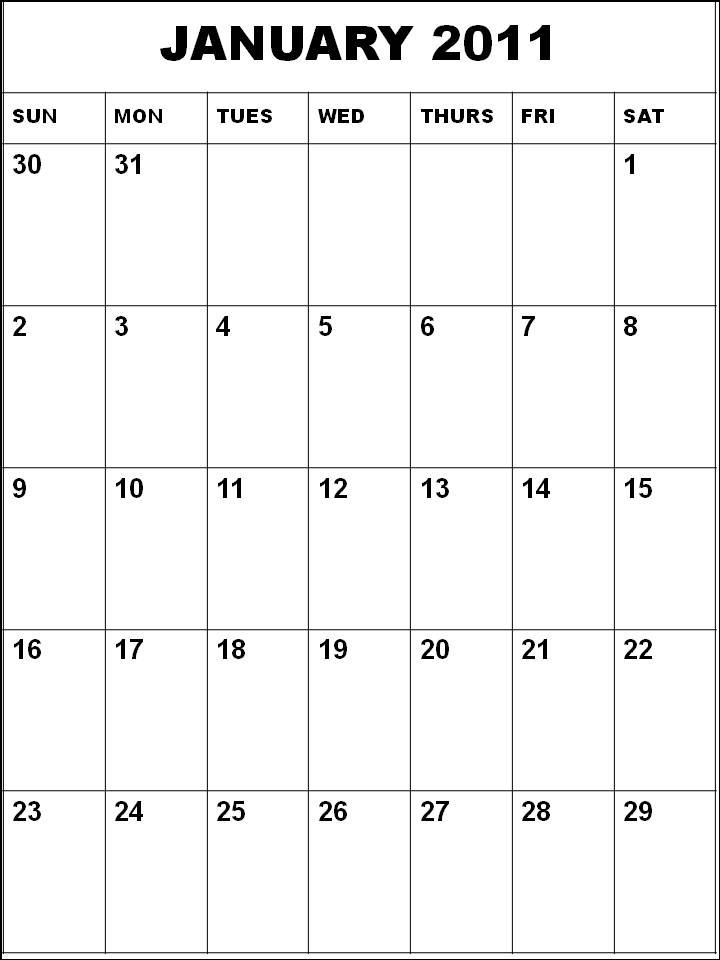 Free Homemade Blank Calendar Planner 2011 January